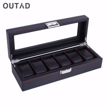 OUTAD 6 Slots Carbon Fiber Fashion Watches Box Casket Jewelry Display Storage Organizer Striped Durable Leather Case Gift(China)