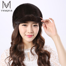 YWMQFUR Real Mink Fur Hats Women Natural Mink Fur Cap 2017 New Style Good Quality Famle Fur Caps Russia Hot Winter Hat H24(China)