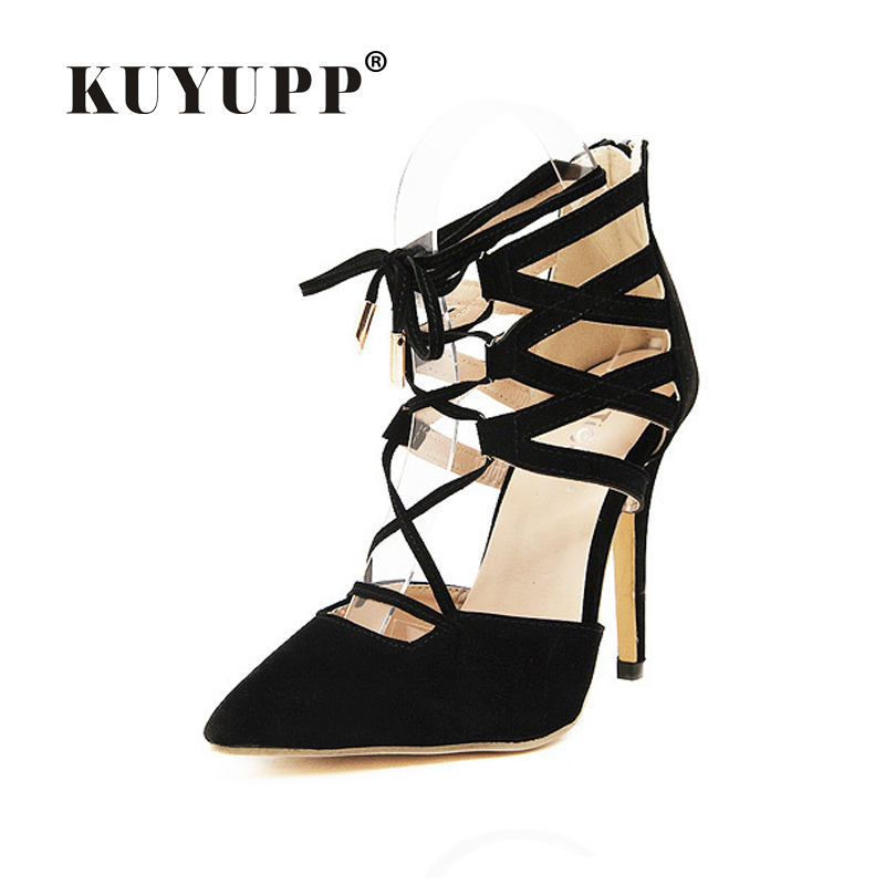 Gladiator Sandals Women High Heels 2017 Summer Fashion Pointed Toe Woman Sandals Casual Ladies Shoes Cross-tied Size 35-40 LD52<br><br>Aliexpress