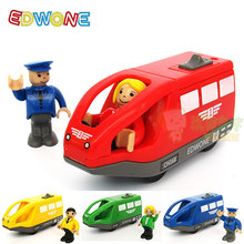 EDWONE 11*5.5CM 4 Color Kids Electric Train Toys Birthday Gifts For Children Magnetic Wooden Slot Diecast Electronic Vehicle Toy