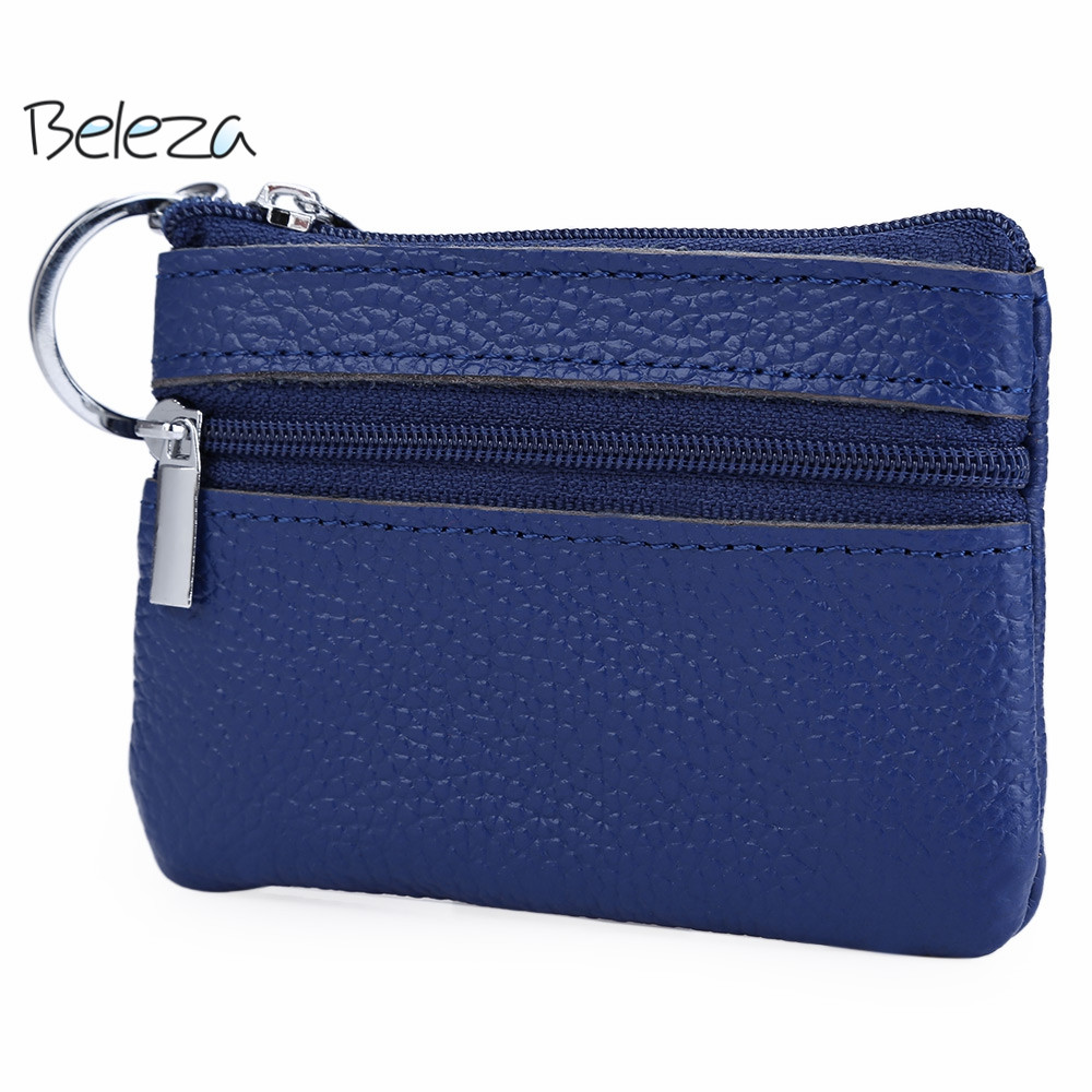 Beleza Casual Soft Leather Wallet Solid Color Leather Zipper Horizontal Coin Purse With Key Ring Portable Purse 5 Colors<br><br>Aliexpress