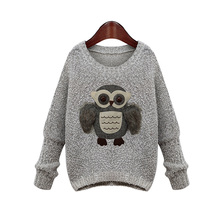 christmas 2016 new Arrival Owl Pattern Sweater Fashion Streetwear Pullover Tops Autumn Winter New Gray Knitted Sweater Outerwear