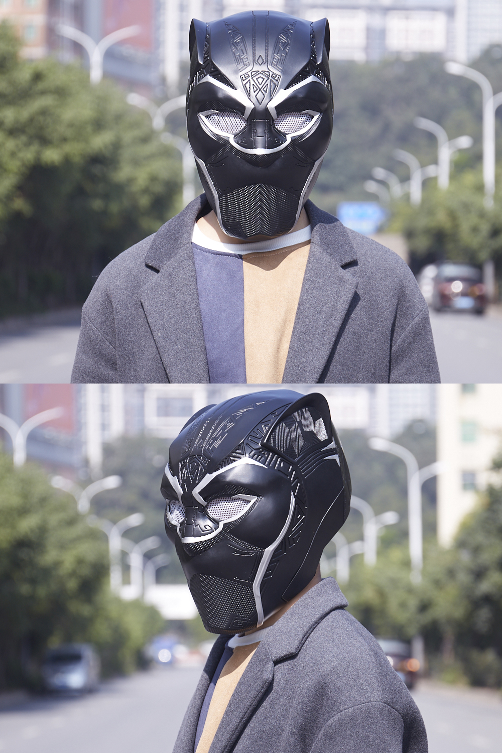New Year Captain America Civil War T'Challa Black Panther Wakanda Cosplay Mask Black Helmet Carnival Party Mask For Adult 2018 (1)