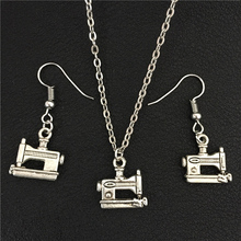 Funky Personality Steampunk Tailor Antique Tibetan Silver Sewing Machine Pendant Dangle Earrings Necklace Unique Jewelry Sets