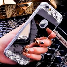 Luxury Rhinestone diamond Shiny Gold Silver Tpu Mirror Case Cover For Iphone 6 6s Plus 5 5S 4 4S Se 7 7 Plus 8 Plus X Case Cover(China)