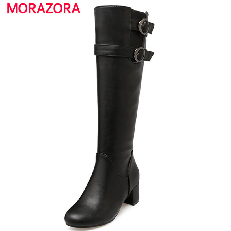 MORAZORA 2017 winter new arrive mid calf boots for women buckle solid side zipper med square heels fashion plus size 43<br>