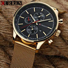 Curren 8227 Men Quartz Watch Luxury Brand Gold Mesh Strap Mens Wristwatch Casual Male Sport Clock Man Watches Relogio Masculino(China)