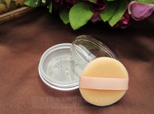 2pcs/lot empty loose powder jar with sifter Cosmetic Transparent round bottom plastic powder compact Makeup Sifter case Sample