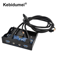"3.5"" 2 Ports USB 3.0 Hub with HD Audio Output + Mic Connector Adapter 20Pin 3.5 Inch Internal Floppy Front Panel Bracket(China)"