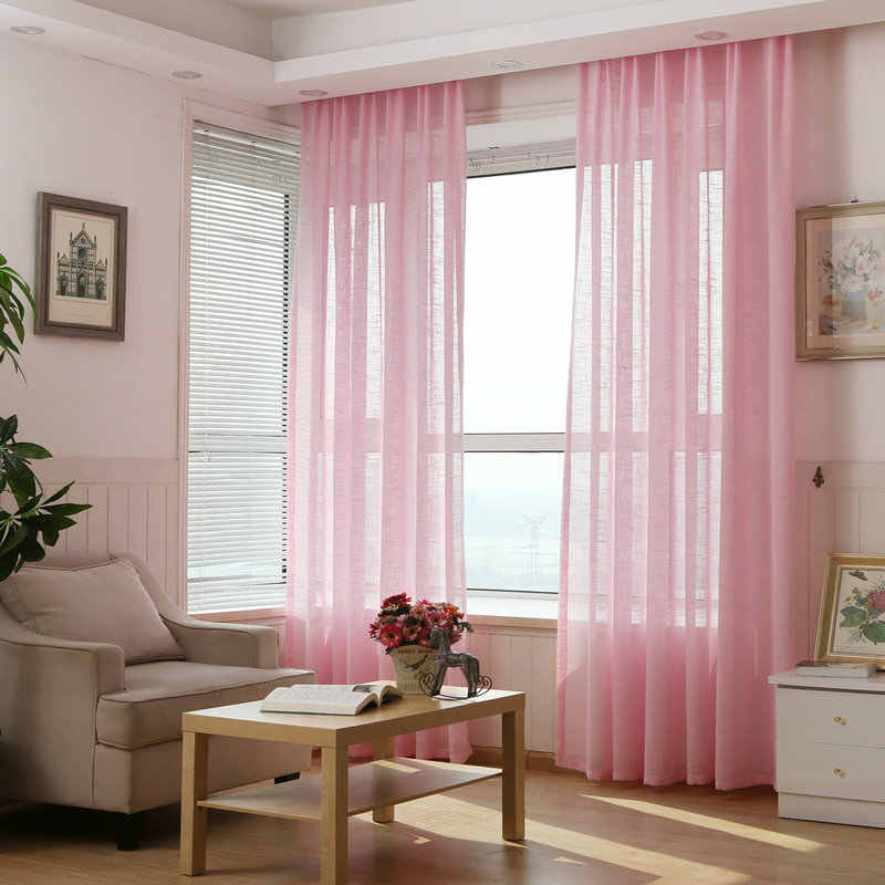Linen Sheer Curtains for Window Solid Color Tulle Ready Made Transparent Purple Blue Beige Pink Brown White