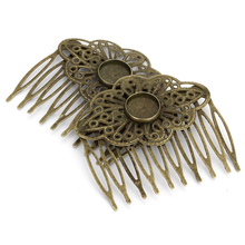 5pcs 54x52mm Retro 10 Teeth Antique Bronze Color Hair Comb 12mm Hairpin Setting Fit Bridal Weeding Hair Pins Making Accessories