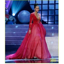 Gorgeous Red Sexy V Neck Velvet Evening Dresses Long Sleeves Formal Dresses Miss World Pageant Gown robe de soiree L822