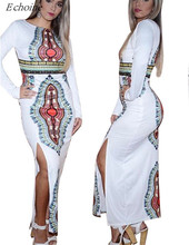 Echoine Traditional African Dashiki Long Sleeve Maxi Dress Plus Size Summer Fall SideSplit Party Dress Indian Bazin Riche Femme(China)