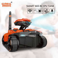 Global Drone RC Tank WiFi Phone Control by Iphone Android Robot with Camera 4CH APP Mini WIFI RC Tank Car Video with FPV Camera(China)