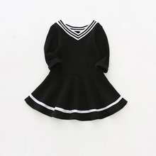 Sun Moon Kids Baby dress preppy style baby girls autumn spring clothes v-neck cotton baby girl birthday infant Dresses for girls(China)