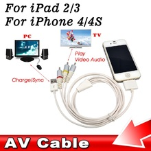Dock Connector TV RCA Video Composite AV Cable + USB 2.0 for Apple for iPad 1 2 3 for iPhone 4 4S 3GS for iPod Touch for Nano