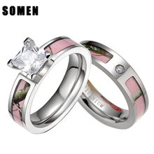 Pink Tree Camo Inlay Titanium Couple Ring Set Women Cubic Zirconia Wedding Band Men Engagement Ring Jewelry Lover alliance anel(China)