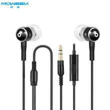 MOWEEK High Quality 3.5mm metal stereo bass Earphone Headphones with microphone wired headset for Xiaomi Mobile phone(China)