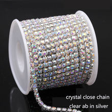 10Yrads/lot ss6-ss18  dense Crystal ab   in silver  base close rhinestone chain Cup chain for clothing ornament accessories