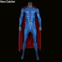 Hero Catcher High Quality 3D Print Superman Suit With Cape No Logo Superman Suit Man of Steel Cosplay Costume Superhero Zentai