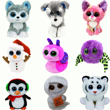 15CM TY Beanie Boos Big Eyes Huskies Gog Snails Snowman Spider Pengui Tiger Mist White Ghost Plush Dolls Stuffed Toys