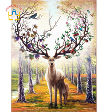 Home Beauty 5d Diy Diamond Painting Deer Picture Mosaic Diamond Full Rhinestone Square Layout Home Decor Needle Arts Craft SK523(China)