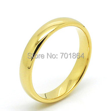 US Size 4-12 Couple Ring Tungsten Carbide Wedding Ring 4mm width Gold Color
