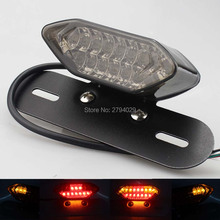 Free Shipping Smoked Universal 12V LED Tail Brake Light with License Plate Holder Fits For Most of Motorcycle Custom Hot Sales