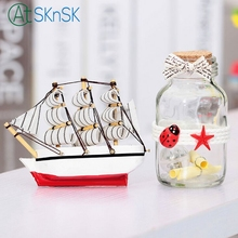 Random color Fashion Creative gift wood crafts souvenir home decoration Sailboat and wishing bottle creative ornaments for gifts(China)