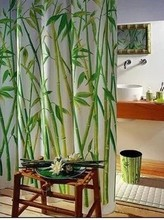 Green Bamboo Natural Landscape Design Bathroom Shower Curtain Fabric 12 Hooks free shipping 180*180cm