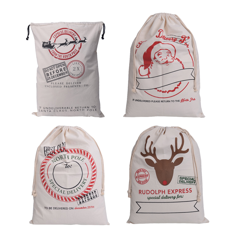 High Quality Large Canvas Merry Christmas Santa Sack Xmas Stocking Reindeer Gift Storage Bag baby toy clothing Laundry Bag Pouch(China)