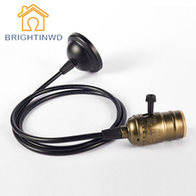 BRIGHTINWD 110V 220V Retro Edison Bulb Holder E27 Socket Antique Brass Lamp Base Cord Grip Threaded Lampholder For Pendant Light(China)