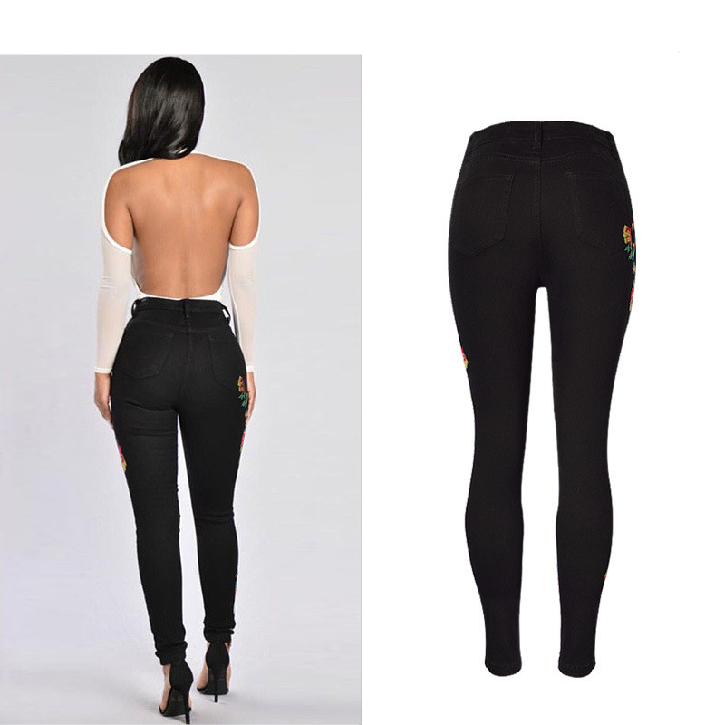 Hot Sexy High Waist Denim Stretchy Black Jeans Embroidery Rose Fashion Skinny Full Length Bodycon Tight Women Pencil Jeans Femme (12)