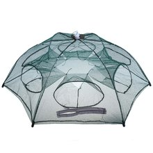 Folded Fishing Net Automatic Hexagon 6 Hole  Fishing Net Shrimp Cage Trap Fishing Net Minnow Crab Baits Cast Mesh Trap