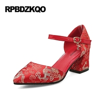 Embroidery High Heels 2017 Thick Cheap Medium Pumps Size 4 34 Ankle Strap Embroidered Sandals Pointed Toe Red Satin Shoes Ladies