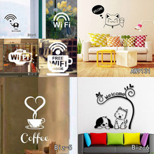 Hot Selling Wall Stickers Custom Made Vinyl Wall Sticker Art Shop or Cafe Window Decoration Wifi Zone Wireless Sign and Welcome