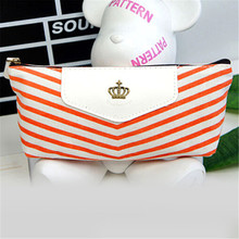 New Fashion pencil bag Navy Canvas Envelope Pen Pencil Case Coin Purse Pouch Female Bag(China)