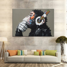 1 Pcs Animal Monkey Painting Printed On Canvas Large Modern Funny Thinking Monkey with Headphone Wall Art Home Decor