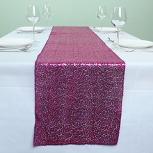 Fushia ( 12 x 72 inch ) Sparkly Sequin Table Runners For Wedding Event Party Event Banquet Table Decoration(China)