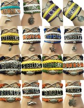 (10pcs/Lot) 16 Styles American Football Team Bracelets -Customized Handmade Leather Wrap Friendship Charm Fans Club Gift(China)