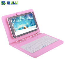 2017 New iRULU RUSSIAN KEYBOARD for 10'' Tablet PC Using Russian Language People Leather Micro USB Keyboard Case