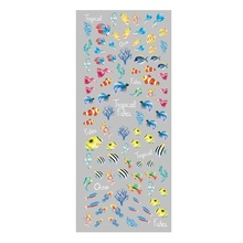 New DIY Design Water Transfer Nails Art Sticker Blue Ocean Fishes Nail Wraps Stickers Full Cover Watermark Fingernails Decal