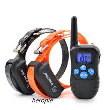 300M Electronic Dog Collar Remote Control Anti Bark Dog Shock Training Collar With Blue LCD Display Pet Training Collars HEROPIE