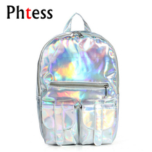 2017 Women Hologram Leather Backpack Holographic Transparent Backpacks Sac a Dos School Bag For Teenagers Travel Rucksack(China)
