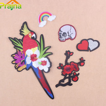 Prajna Bird Patch Flower Big Parrot Embroidered Patches Skull Biker Iron On Patches Applique Logo Stripe Clothing Applique DIYD1