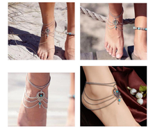 Boho Ethnic blue stone Beads Anklets Chic Tassel Foot Chain Anklet Bracelet Body Jewelry Anklets For Women Free Shipping