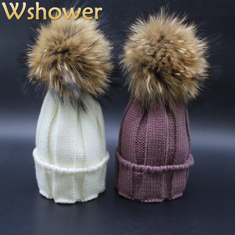 2016 Children Genuine Real Raccoon Fur Ball Winter Hat Cap For Kids Boy Girl Warm Fur Pom Poms Bobble Ski Hat Fur Pompoms HatÎäåæäà è àêñåññóàðû<br><br><br>Aliexpress