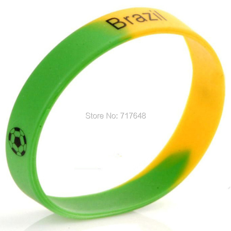 100pcs Football Brazil wristband silicone bracelets free shipping by FEDEX