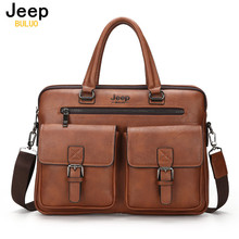 JEEP BULUO Famous Brand New Design Men's Briefcase Satchel Bags For Men Business Fashion Messenger Bag 14' Laptop Bag 8001(China)
