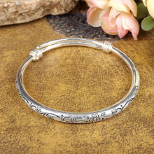 new Gypsy Bohemian Vintage Retro Silver Bangles Women Classic Handmade Tibetan Silver Carved Plum Cuff Bracelets 6cm Diameter